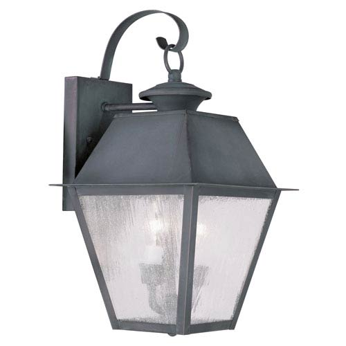 Livex Lighting Mansfield Charcoal Two-Light Outdoor Wall Lantern