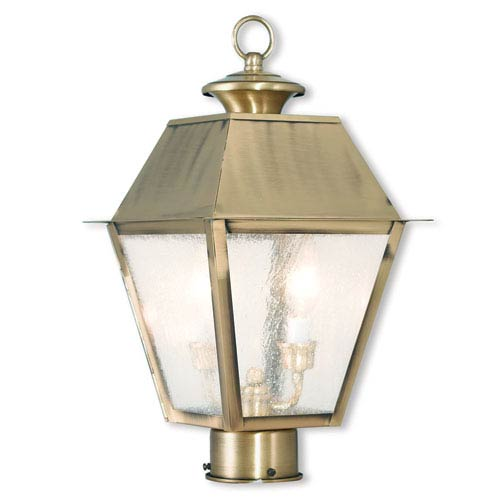 Mansfield Antique Brass 9-Inch Two-Light Post-Top Lantern with Seeded Glass