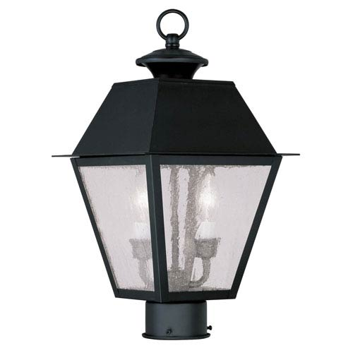Livex Lighting Mansfield Black Two-Light Outdoor Post Head