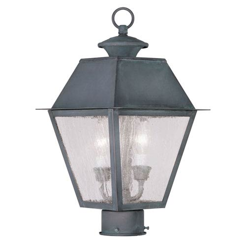 Livex Lighting Mansfield Charcoal Two-Light Outdoor Post Head