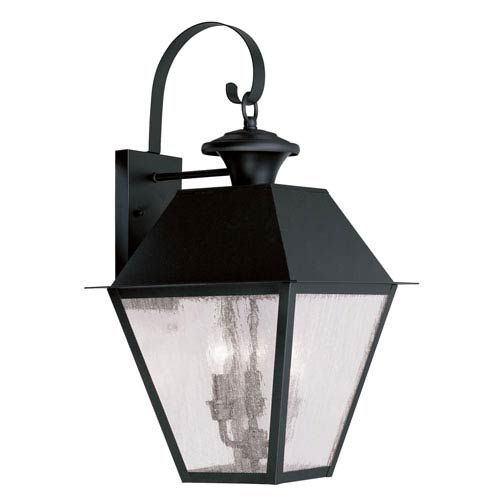 Livex Lighting Mansfield Black Three-Light Outdoor Wall Lantern