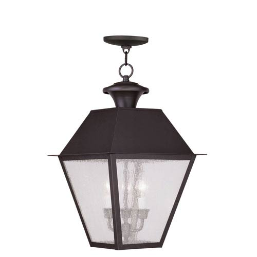Livex Lighting Mansfield Bronze Three-Light Outdoor Chain Hang