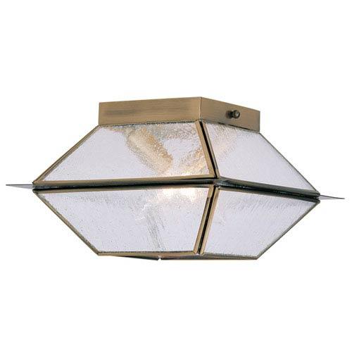 Livex Lighting Mansfield Antique Brass Two Light Outdoor and Indoor Ceiling Mount