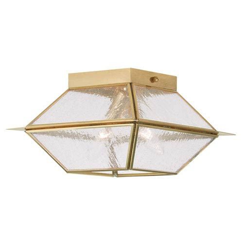 Livex Lighting Mansfield Polished Brass Two Light Outdoor and Indoor Ceiling Mount