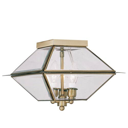Westover Antique Brass Three-Light Outdoor Ceiling Mount