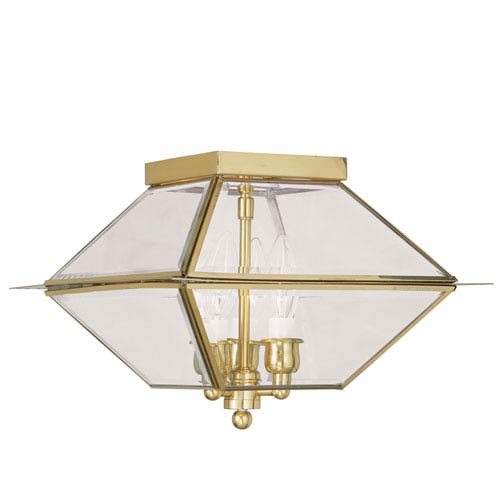 Livex Lighting Westover Polished Brass Three-Light Outdoor Ceiling Mount