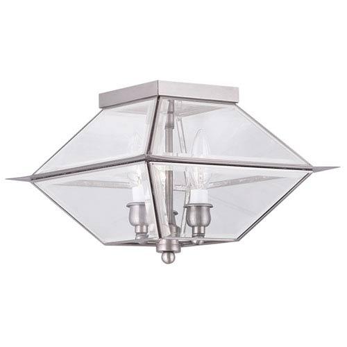 Livex Lighting Westover Antique Brass Three Light Outdoor and Indoor Ceiling Mount