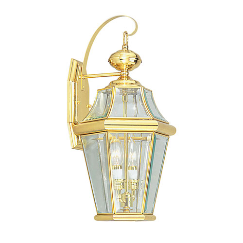 Livex Lighting Georgetown Polished Brass Two Light Outdoor Fixture