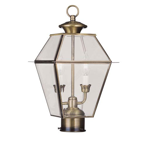 Westover Antique Brass Two-Light Outdoor Post Mount