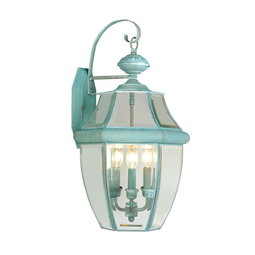 Monterey Verdigris Three-Light Outdoor Fixture