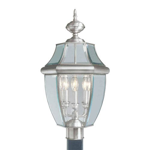 Monterey Brushed Nickel Three-Light Outdoor Fixture