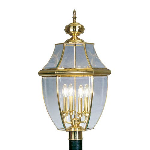 Monterey Polished Brass Four-Light Outdoor Fixture