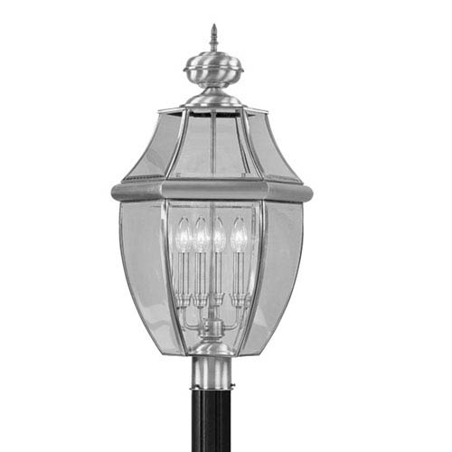 Monterey Brushed Nickel Outdoor Post Lantern