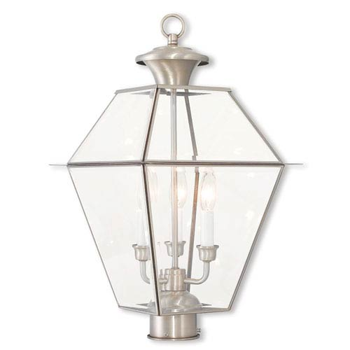 Westover Brushed Nickel 12-Inch Three-Light Post-Top Lantern with Clear Beveled Glass