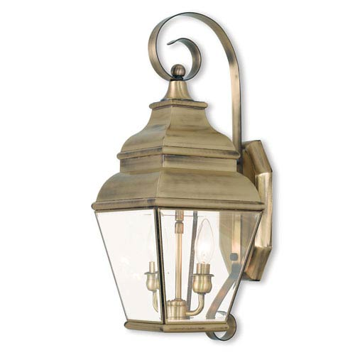 Exeter Antique Brass 8-Inch Two-Light Outdoor Wall Lantern with Clear Beveled Glass
