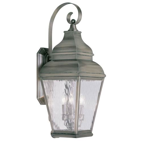 Livex Lighting Exeter Vintage Pewter Three-Light Outdoor Wall Lantern