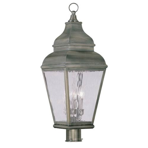 Exeter Vintage Pewter Three-Light Outdoor Post Head