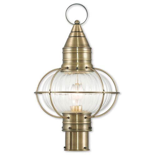 Newburyport Antique Brass One-Light 12-Inch Post Lantern