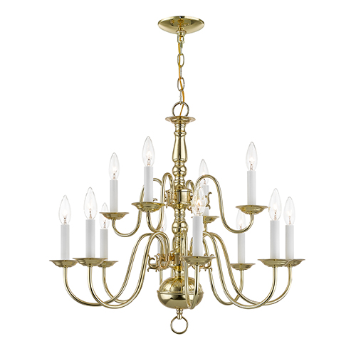Williamsburgh Twelve-Light Polished Brass Chandelier