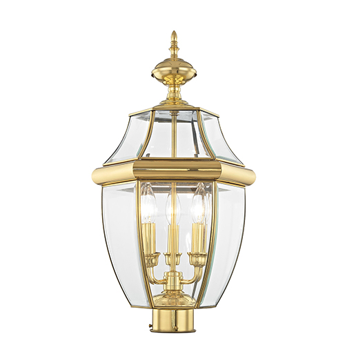 Livex Lighting Monterey Polished Brass Three-Light Outdoor Fixture