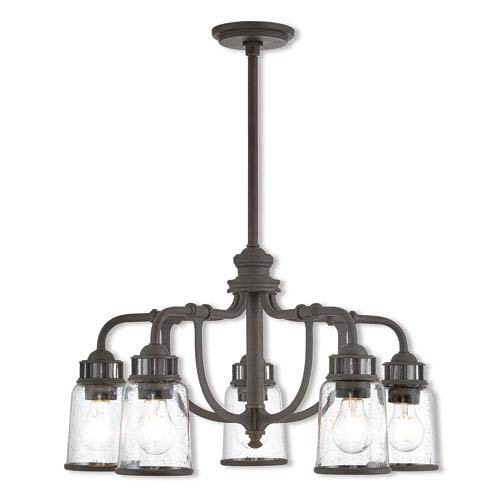 Livex Lighting Lawrenceville Bronze 24-Inch Five-Light Dinette Chandelier