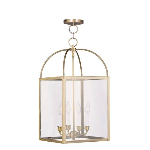 Livex Lighting Milford Antique Brass Four-Light 13-Inch Pendant with Clear Glass