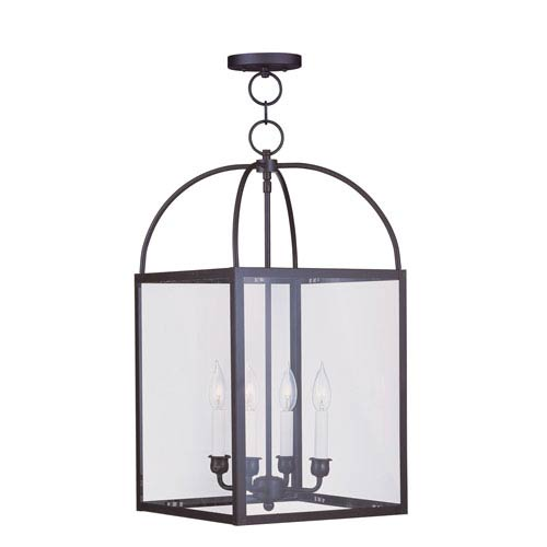 Livex Lighting Milford Bronze Four-Light 13-Inch Pendant with Clear Glass