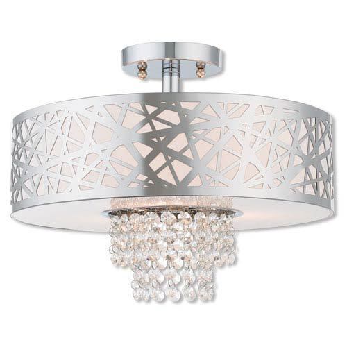 Allendale Polished Chrome 15-Inch Three-Light Ceiling Mount