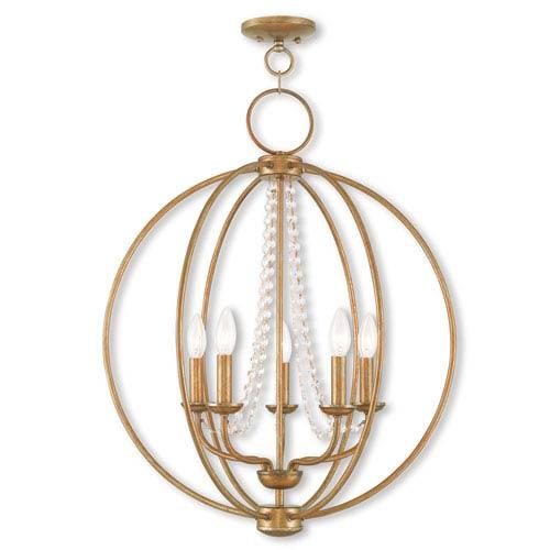 Livex Lighting Arabella Antique Gold Leaf 22-Inch Five-Light Pendant
