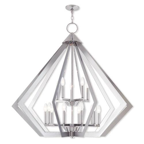 Prism Polished Chrome 42-Inch Fifteen-Light Foyer Chandelier