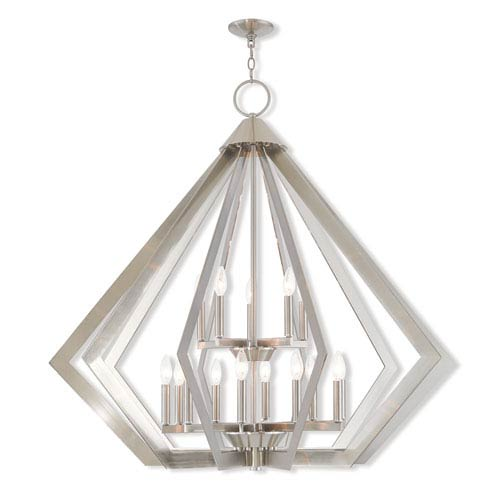 Livex Lighting Prism Brushed Nickel 42 Inch Fif Light Foyer Chandelier