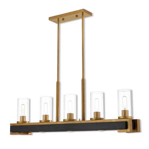 Livex Lighting Buttonwood Aged Gold  Eight-Light Linear Pendant