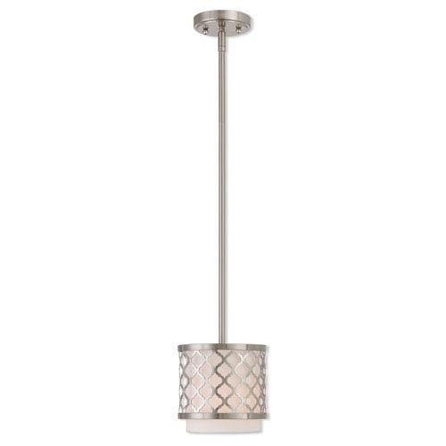 Arabesque Brushed Nickel 7-Inch One-Light Mini Pendant