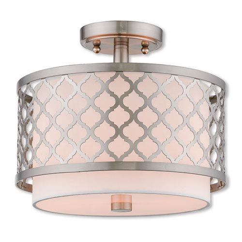 Livex Lighting Arabesque Brushed Nickel 12-Inch Two-Light Ceiling Mount