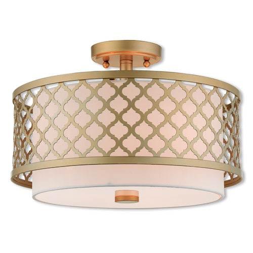 Arabesque Soft Gold 15-Inch Three-Light Ceiling Mount