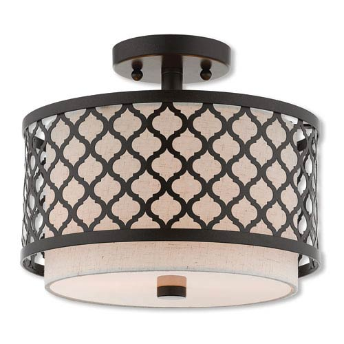 Arabesque English Bronze 12-Inch Two-Light Ceiling Mount