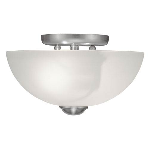 Livex Lighting Somerset Brushed Nickel Two-Light 11-Inch Semi Flush Mount