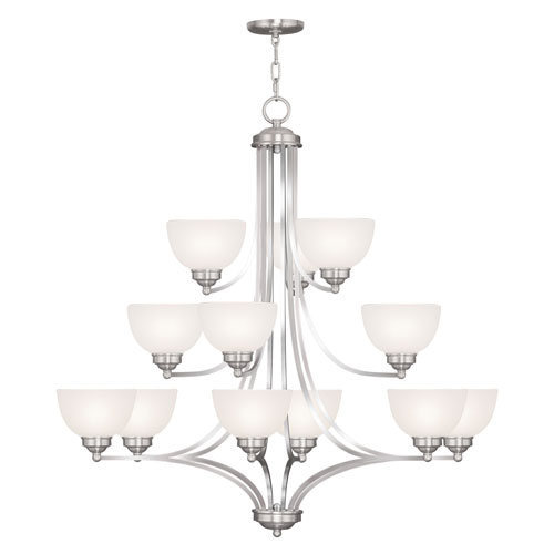 Livex Lighting Somerset Brushed Nickel Twelve-Light 38-Inch Chandelier with Satin Glass