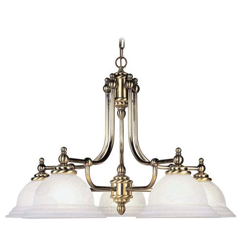 North Port Antique Brass Five-Light Chandelier