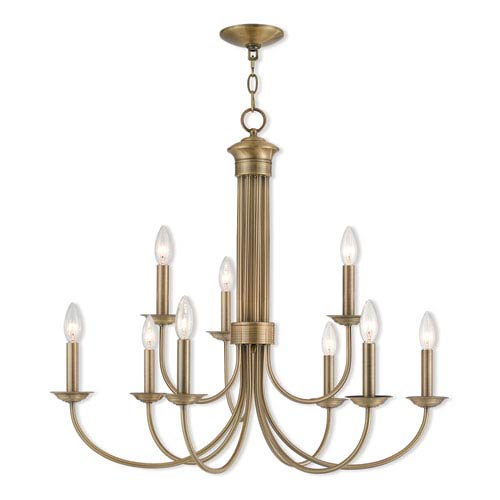 Estate Antique Brass 30-Inch Nine-Light Chandelier