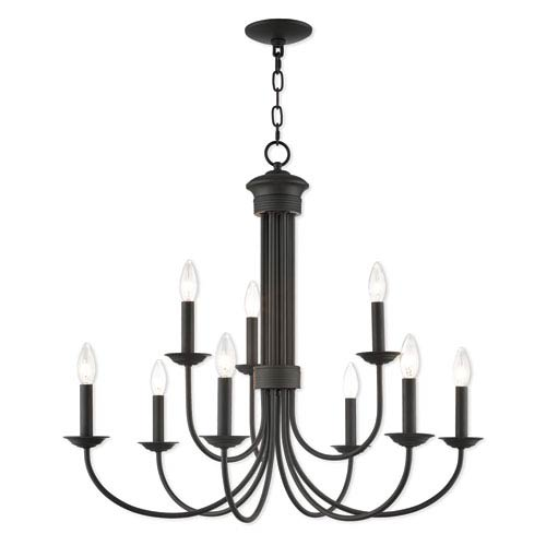 Livex Lighting Estate Bronze 30-Inch Nine-Light Chandelier