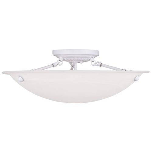 Livex Lighting Oasis White 8-Inch Three Light Ceiling Mount