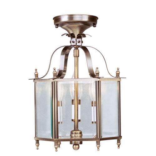 Home Basics Antique Brass Three-Light Convertible Semi-Flush
