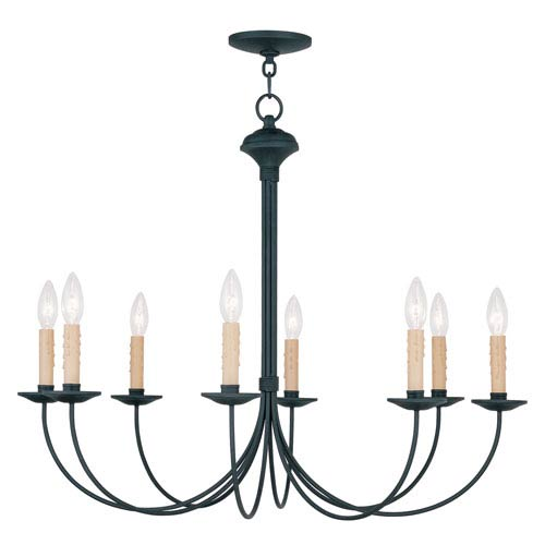 Heritage Black Eight Light Chandelier