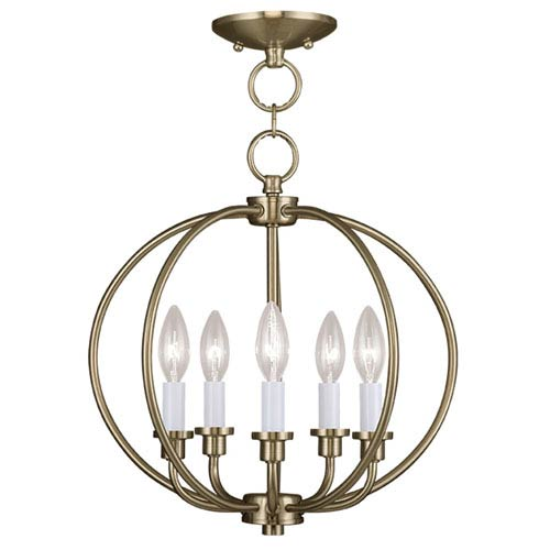 Livex Lighting Milania Antique Brass Five Light Convertible Chain Hang and Ceiling Mount