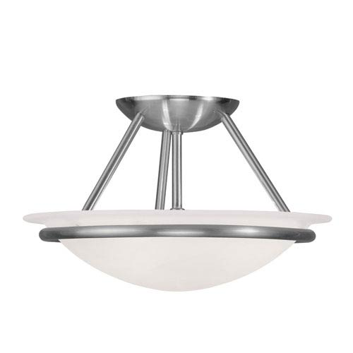 Newburgh Brushed Nickel Two Light 7-Inch Semi-Flush Mount with White Alabaster Glass