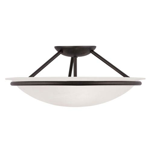 Newburgh Black Three Light 7-Inch Semi-Flush Mount with White Alabaster Glass