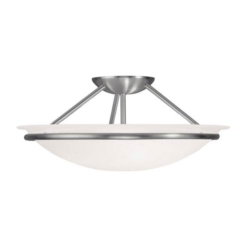 Livex Lighting Newburgh Brushed Nickel Three Light 7-Inch Semi-Flush Mount with White Alabaster Glass