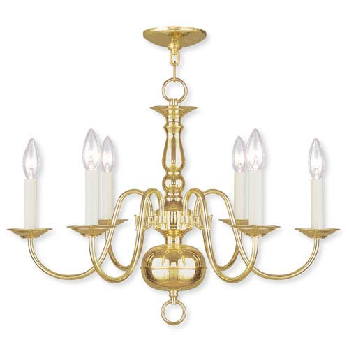Williamsburgh Six-Light Polished Brass Chandelier