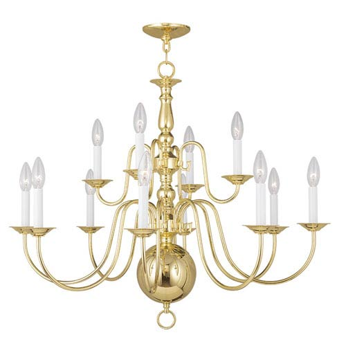 Williamsburgh Polished Brass 12 Light Chandelier